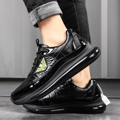 意大利阿玛尼漆皮男士商务休闲运动鞋厚底增高气垫鞋