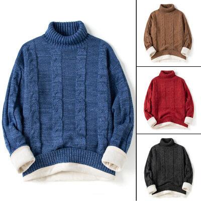 2020秋冬季新款长袖高领休闲蓝色加厚青少年百搭型加绒毛衣男士潮