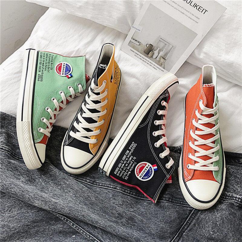 XZ517-1 XZ676 P48帆布鞋男高帮韩版潮流鸳鸯鞋拼色学生鞋  XZ517-1 XZ676 P48