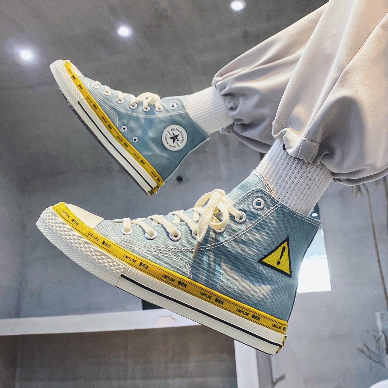 XZ517-1 XZ1230 P48帆布鞋男高帮秋季感叹号鞋男学生透气男板鞋XZ517-1 XZ1230 P48