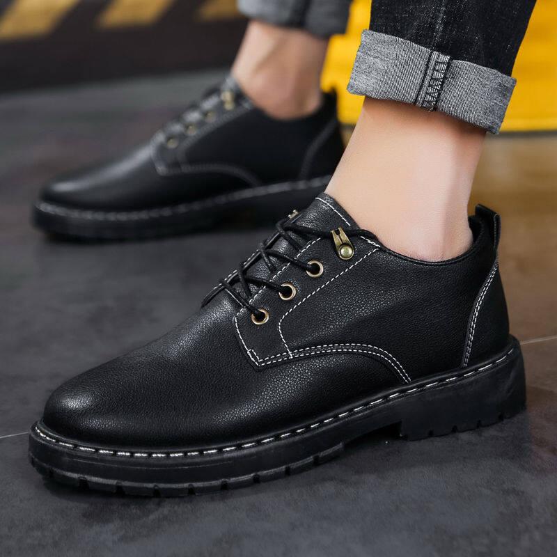 w68037374692u皮鞋男韩版潮流青少年工装鞋上班厨房鞋黑色百搭男鞋子英伦休闲鞋
