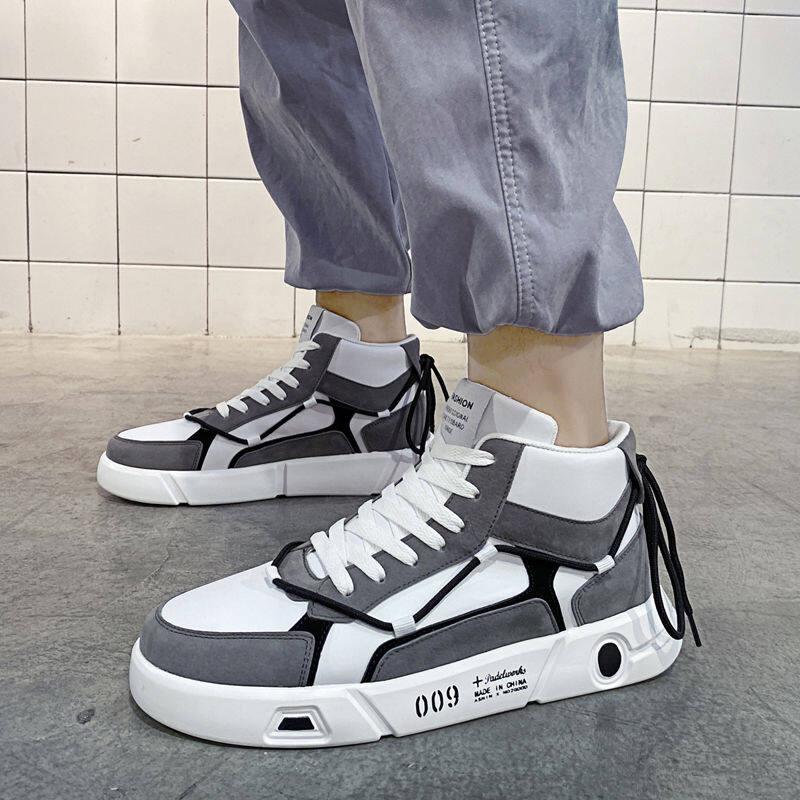 w193548004329u2020秋冬季新款男鞋韩版潮流高帮板鞋拼色百搭休闲鞋青年潮鞋运动