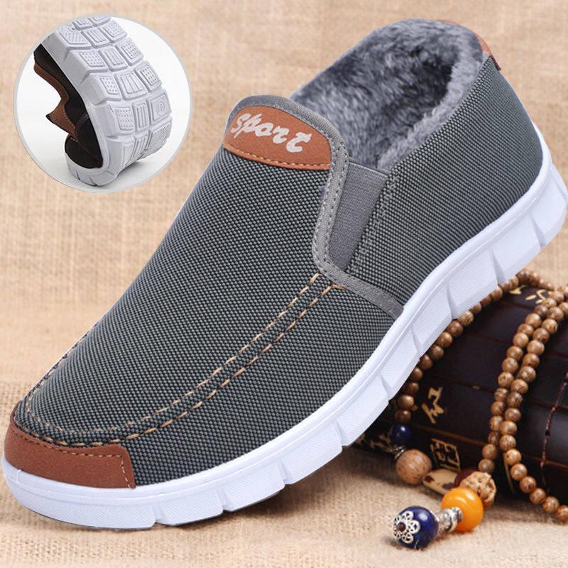w61660356u布鞋男棉鞋冬季防滑软底中老年休闲加绒保暖老人爸爸棉鞋子