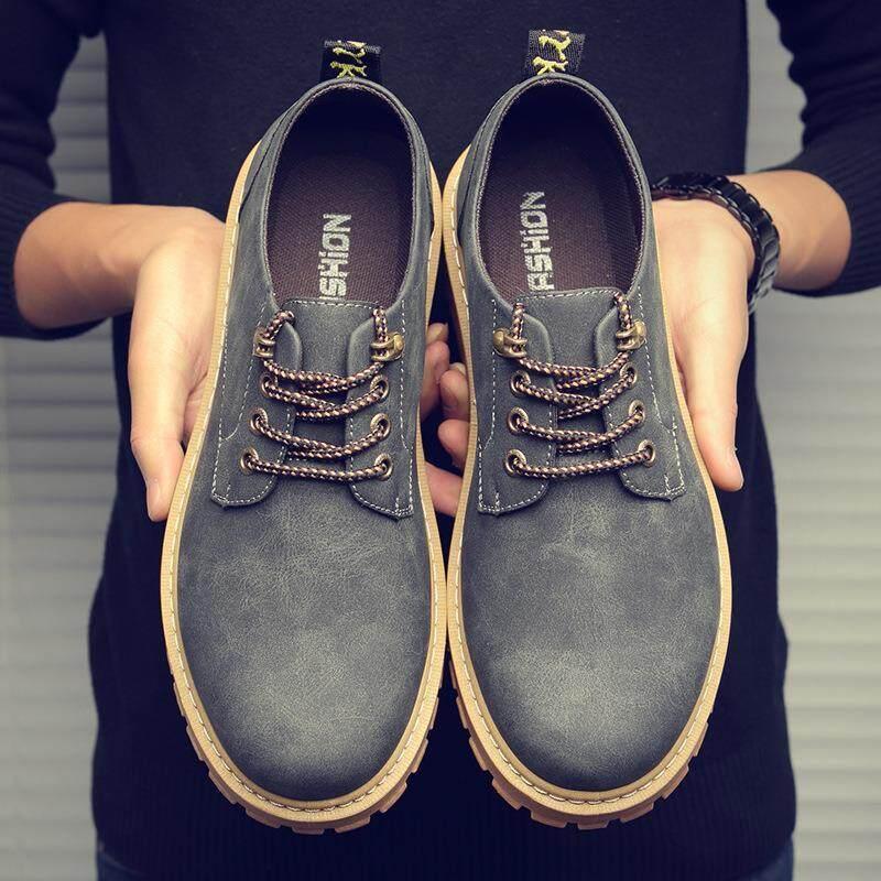 w2642084924u秋冬男士休闲大头鞋低帮英伦风军靴潮流时尚工装鞋复古男鞋马丁靴