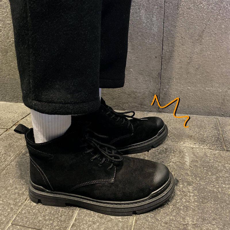w69034292789u高帮鞋男英伦风马丁靴港风工装靴复古百搭中帮靴子韩版潮流马丁鞋