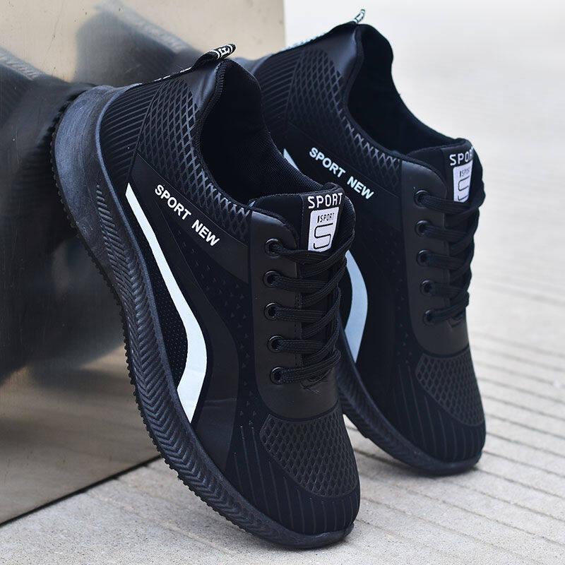 w173775302033u2020年春秋季新款透气男士皮鞋潮鞋韩版黑色鞋子休闲运动百搭板鞋