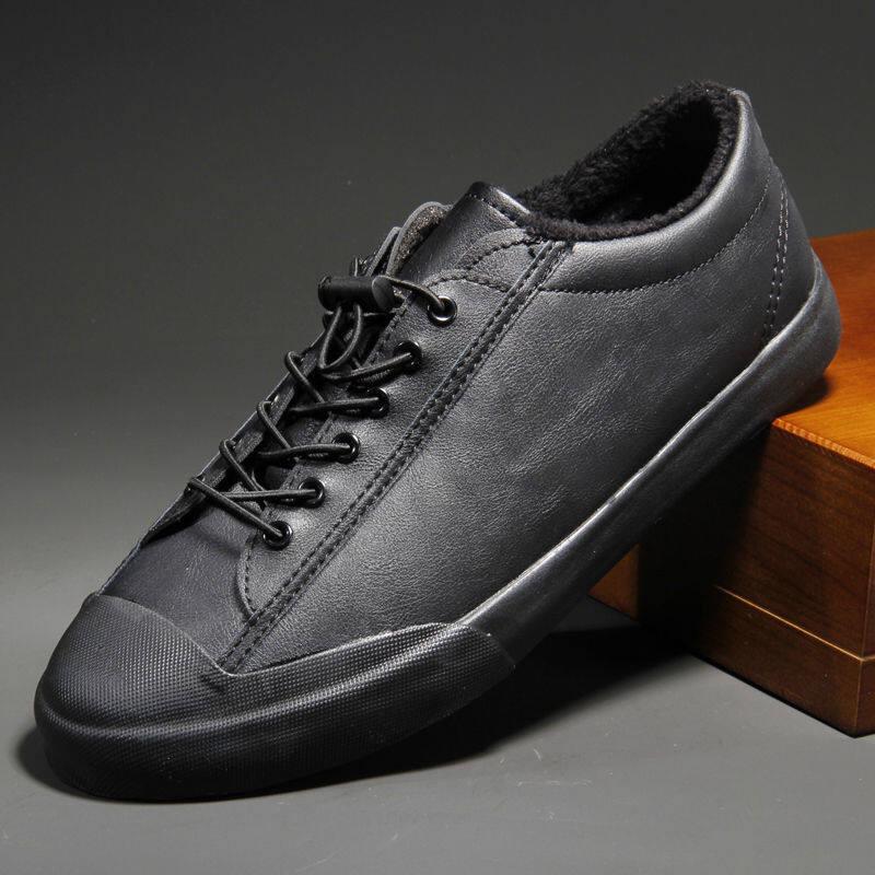 w196521002896u男鞋冬季加绒保暖韩版潮流百搭男士休闲鞋青年低帮皮鞋