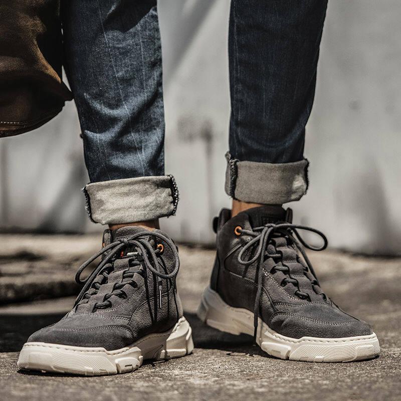 w180286182040u高帮鞋工地干活穿的鞋子男韩版潮流耐磨休闲运动工作劳保男鞋