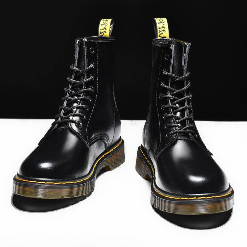 w163551458225u马丁靴男高帮英伦风韩版工装靴潮鞋棉皮靴中帮男鞋冬季加绒雪地靴