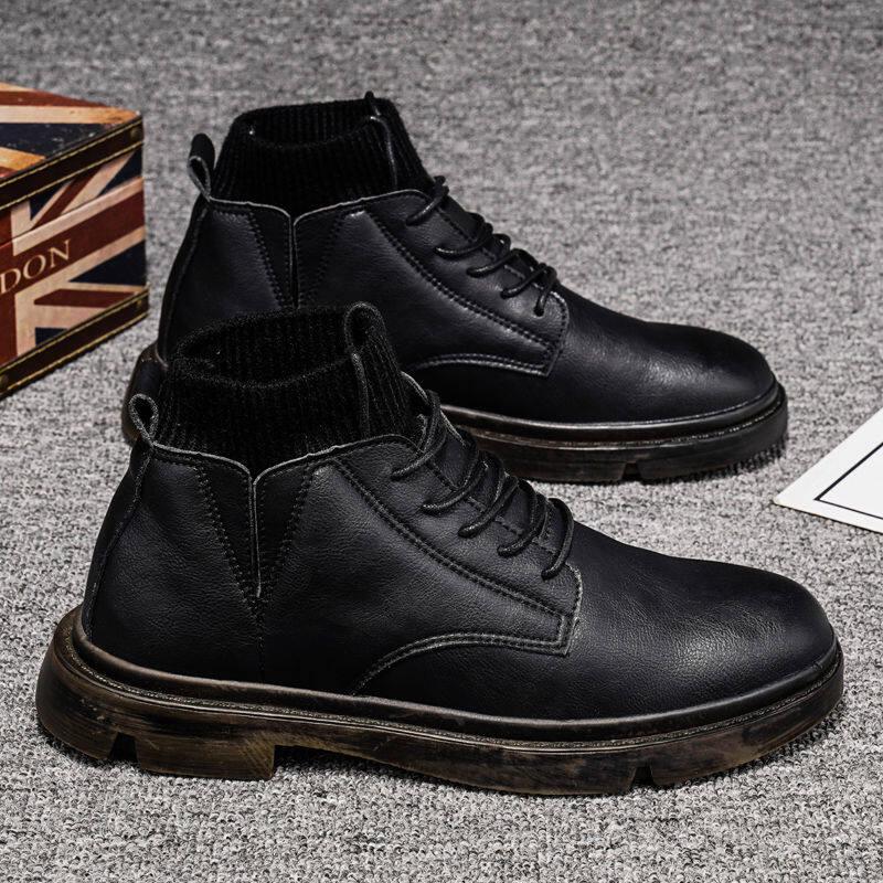w182591468687u马丁靴男鞋子男潮鞋高帮鞋英伦风中帮工装靴子男鞋冬季袜口男靴