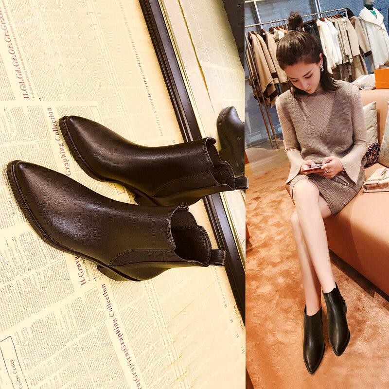 韩国切尔西英伦风马丁短靴2020秋冬季新款尖头粗跟单靴子女鞋百搭
