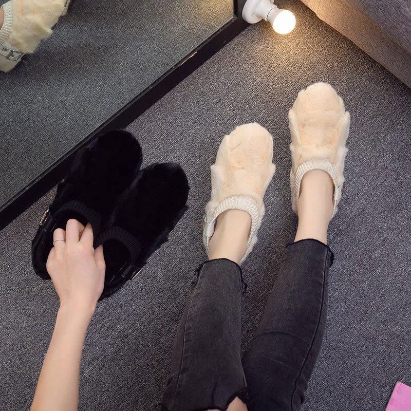 欧洲站2020新款加绒百搭毛毛鞋平底浅口豆豆鞋真皮水貂毛棉瓢女鞋