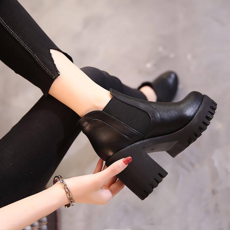 韩国英伦风粗跟马丁靴女2020年秋冬新款真皮女鞋百搭高跟圆头短靴