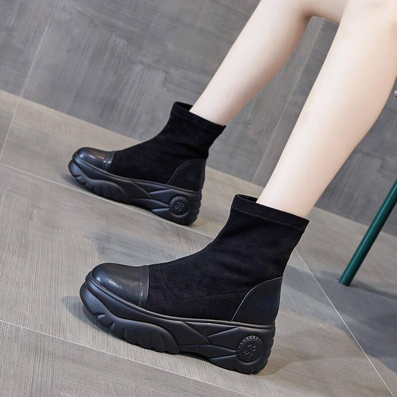 欧洲站袜子靴女2020秋冬新款厚底马丁靴英伦风单靴增高ins瘦瘦靴