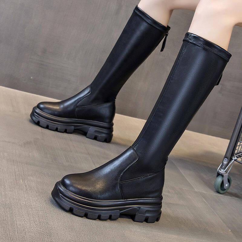 欧洲站2020秋冬新款加绒骑士靴厚底长筒马丁靴百搭增高不过膝长靴