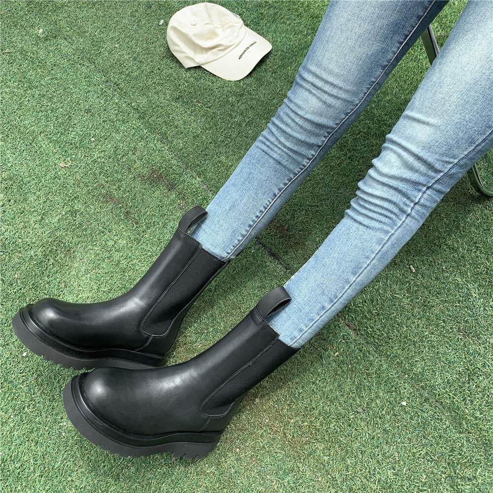 欧洲站真皮马丁靴女2020秋冬经典百搭切尔西靴粗跟中筒靴机车靴女