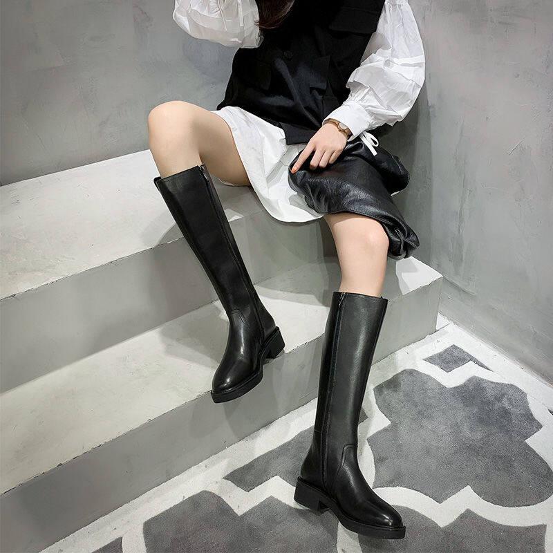 欧洲站网红2020冬新款长筒军靴高筒皮靴粗跟马靴过膝长靴骑士靴女