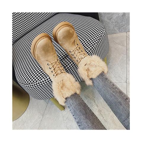 韩国兔毛雪地靴女2020冬新款加绒加厚防滑抗寒棉靴短靴大码中筒靴