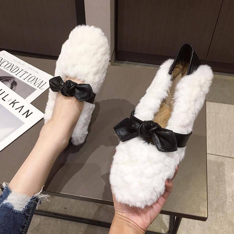 潮牌毛毛鞋女冬外穿2020新款冬季网红保暖豆豆鞋女圆头舒适瓢鞋女