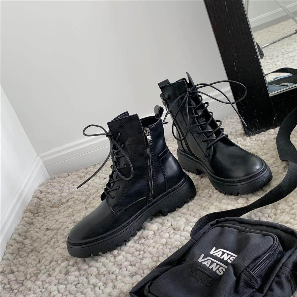 潮牌2020春秋新款马丁靴女英伦风潮ins短靴子厚底增高拉链机车靴