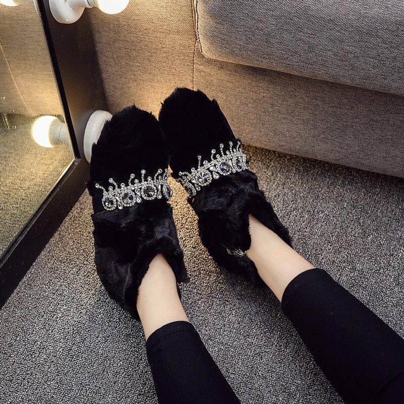 韩国2020秋冬新款真皮水貂毛平底加绒短靴女鞋毛毛时尚马丁靴子潮