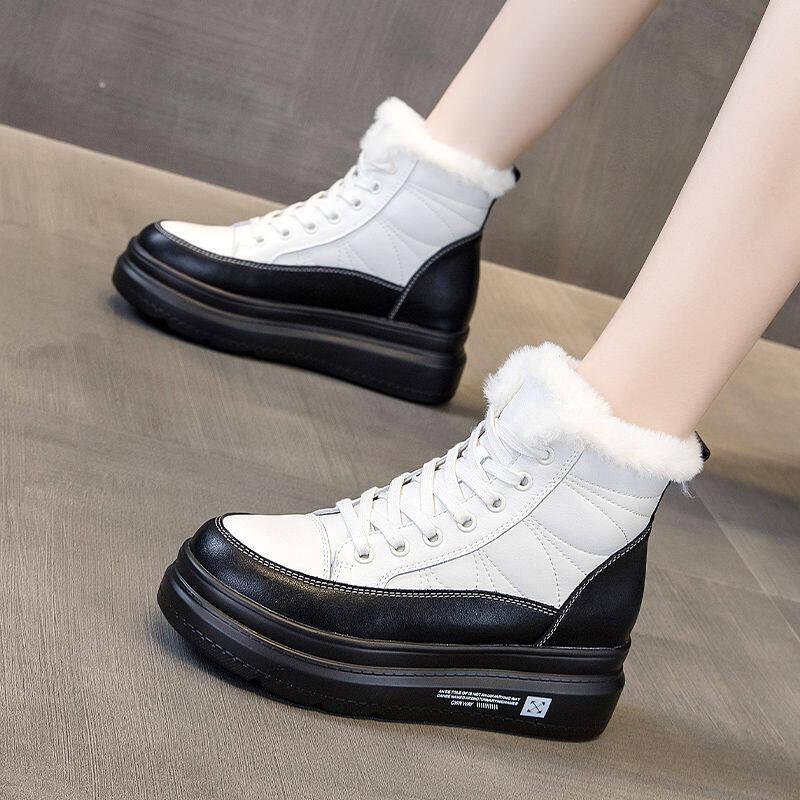 韩国马丁靴子女2020冬季新款百搭英伦风毛毛短靴加厚加绒雪地靴女