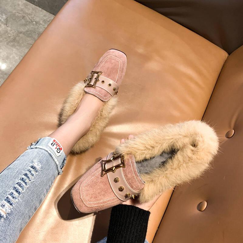 欧洲站毛毛鞋女冬外穿2020新款网红百搭英伦风粗跟女鞋加绒穆勒鞋
