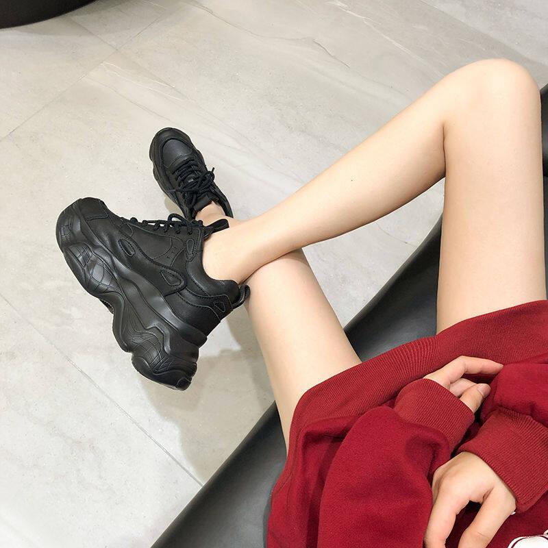 韩国专柜真皮厚底小白鞋女2020秋冬新款休闲运动松糕单鞋老爹鞋女