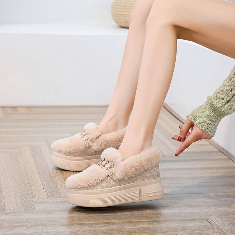 欧洲站内增高毛毛鞋女2020秋冬新款加绒豆豆鞋厚底轻便休闲雪地靴