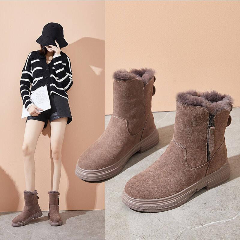 潮牌网红雪地靴女2020冬季新款保暖棉鞋真皮内增高加绒加厚马丁靴