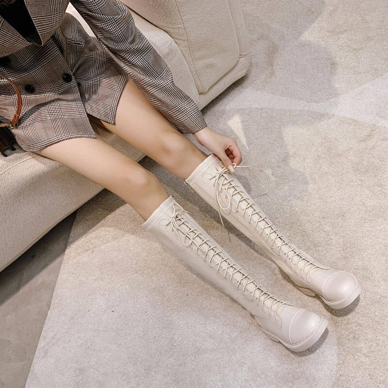 欧洲站真皮长筒靴女2020新款秋冬系带高筒马丁女靴不过膝骑士靴子
