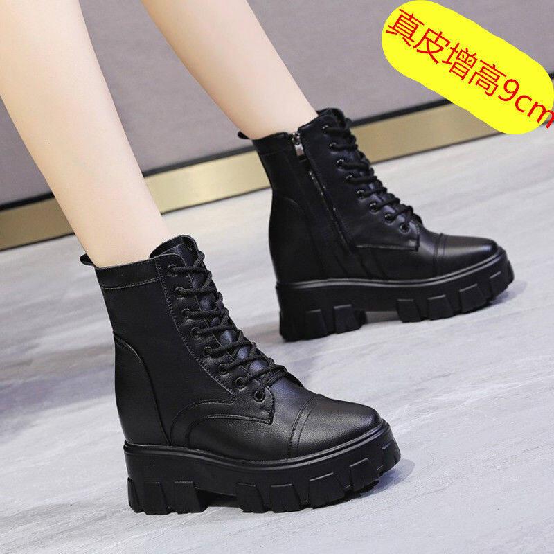 潮牌瘦瘦靴坡跟短靴内增高马丁靴女小个子2020年新款短筒厚底靴子