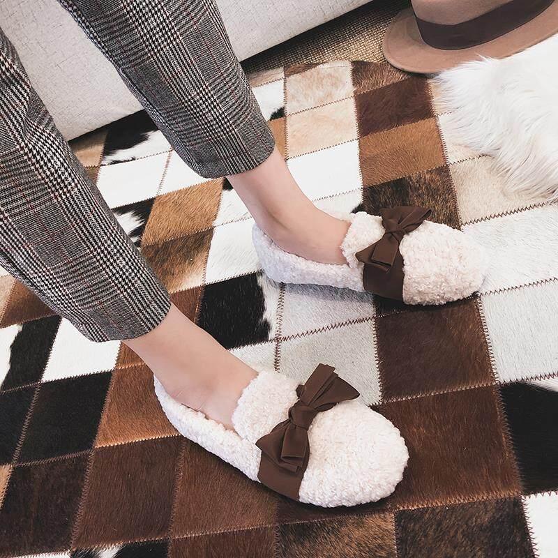 欧洲站毛毛鞋女冬外穿2020新款羊羔毛豆豆鞋加绒厚底棉鞋大码女鞋