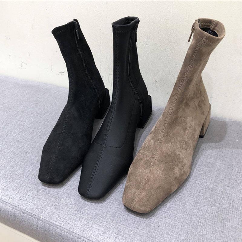 韩国2020新款女鞋方头绒面侧拉链方跟短靴子气质百搭粗跟袜子靴女
