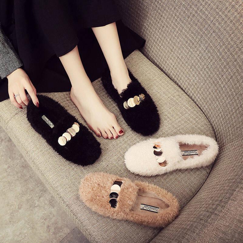韩国毛毛鞋女冬外穿加绒棉鞋平底厚底2020新款羊卷毛绒鞋子豆豆鞋