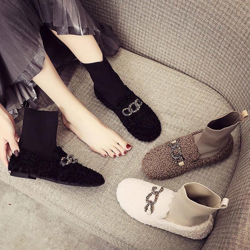 韩国雪地靴女2020冬新款外穿短靴袜靴子百搭棉鞋加绒羊羔毛毛女鞋