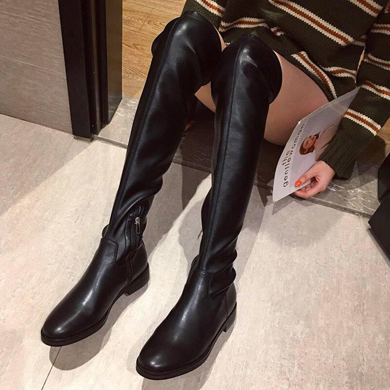 香港过膝靴女2020冬新款长筒皮靴平底弹力靴瘦瘦靴网红百搭高筒靴