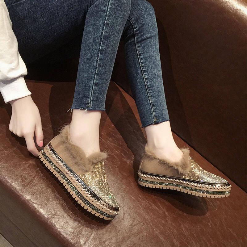 韩国毛毛鞋女外穿2020冬季新款厚底松糕鞋时尚百搭加绒保暖豆豆鞋