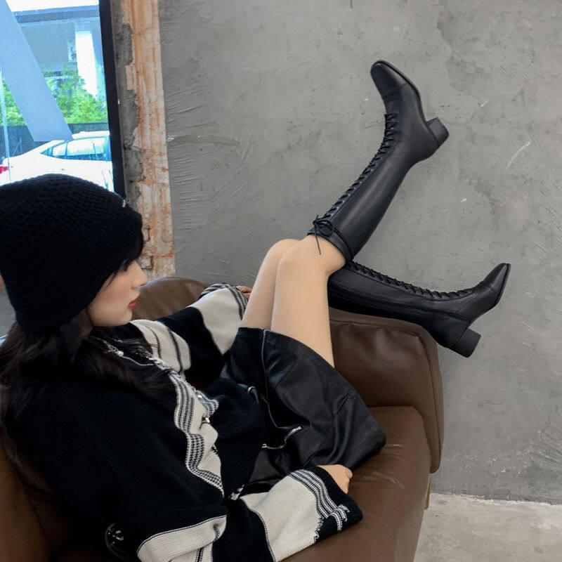 欧洲站高跟不过膝长靴女2020冬新款百搭方头系带粗跟长筒靴高筒靴