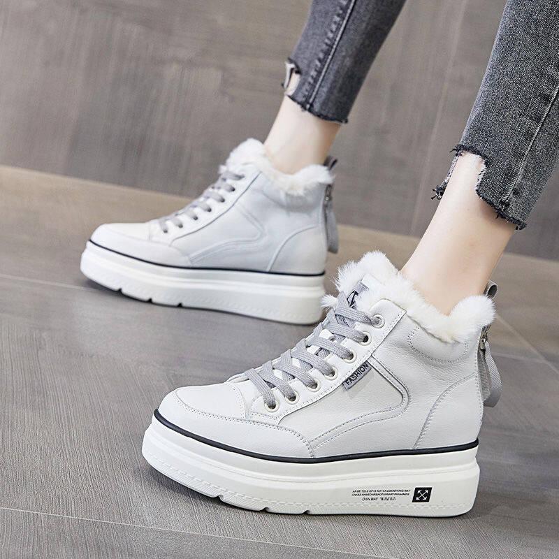 潮牌雪地靴女2020冬新款加绒保暖棉鞋真皮防水厚底时尚外穿毛毛鞋