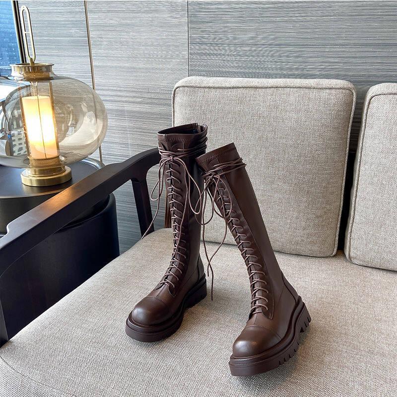 14250厚底长靴女2020秋冬新款平底不过膝显瘦长筒靴中筒弹力英伦骑士靴