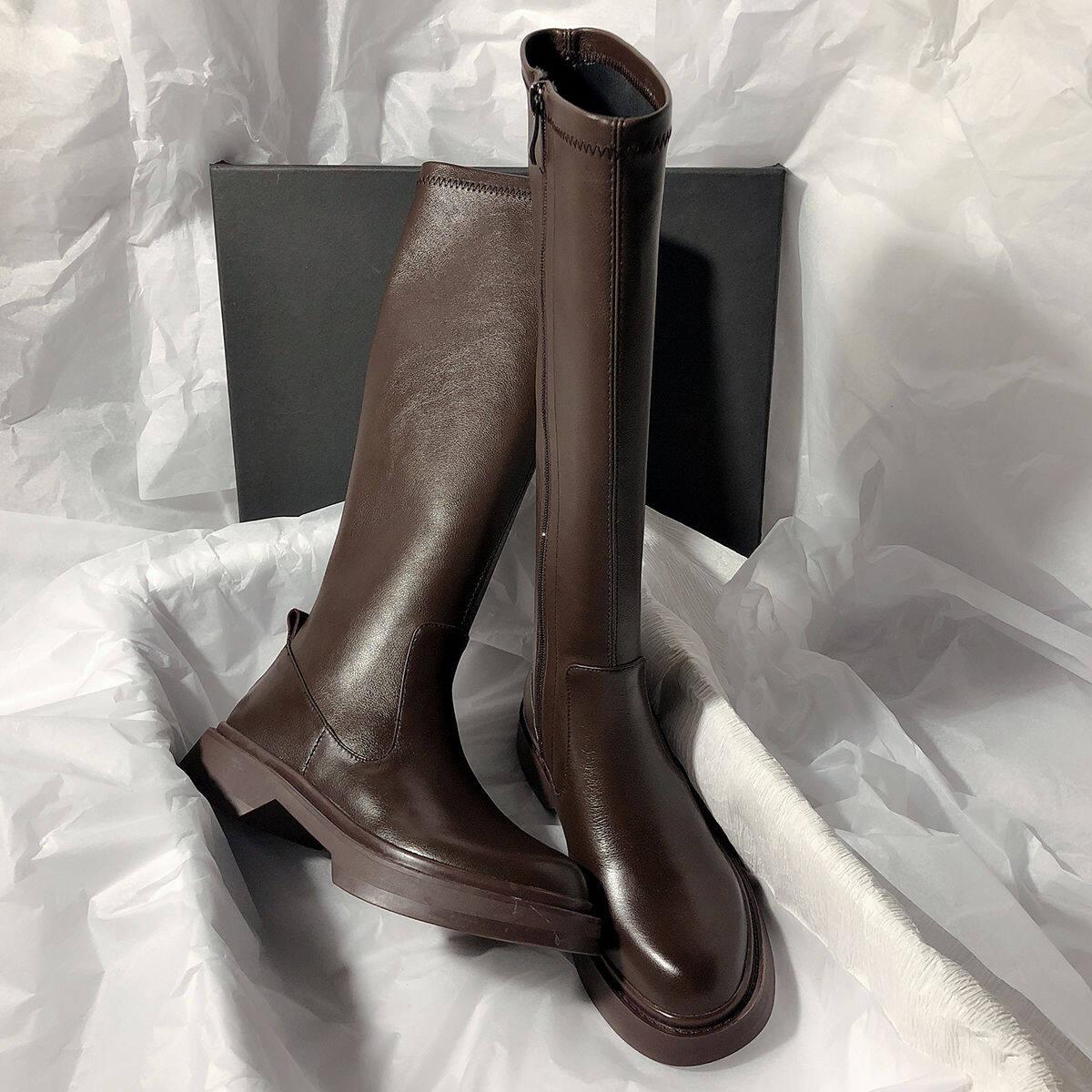 2020秋冬新款弹力厚底不过膝长靴真皮瘦瘦靴骑士高筒靴超显瘦女靴