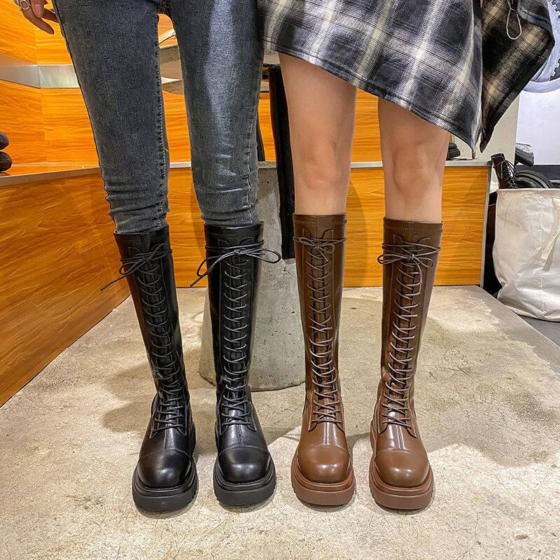 15厚底马丁骑士靴女高筒靴2020新款长靴女不过膝中筒靴后拉链长筒靴