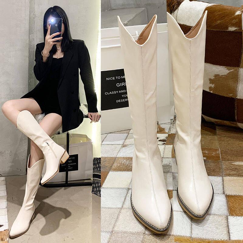156长筒靴女2020新款西部牛仔马靴高筒骑士靴米白色靴子女中筒靴长靴