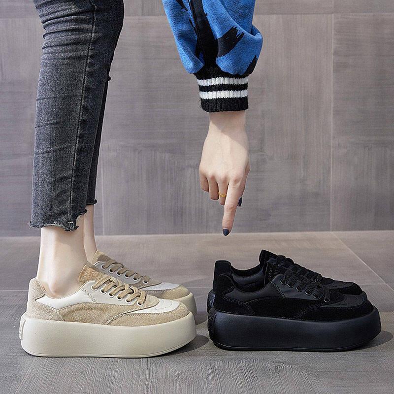 A66厚底面包鞋女2020年秋冬新款韩版百搭帆布鞋ins潮松糕鞋休闲板鞋