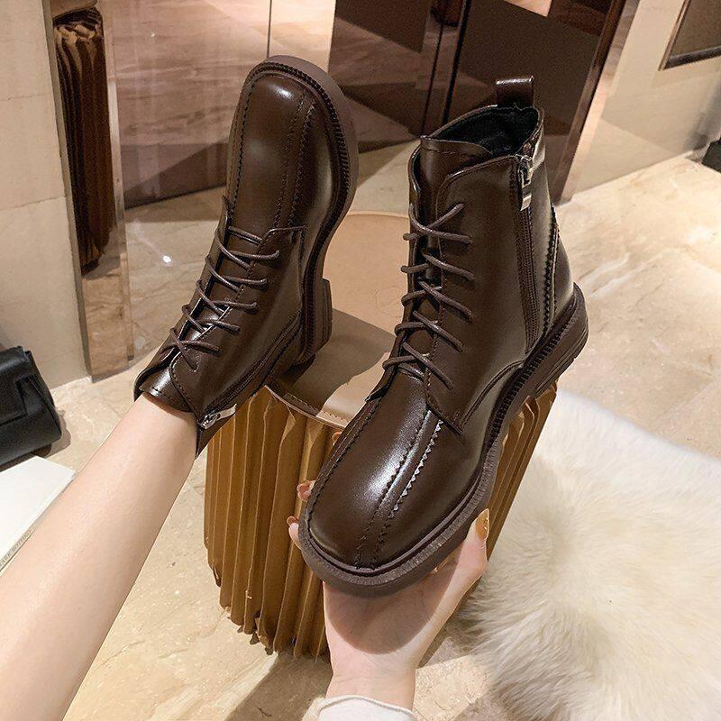 316真皮马丁靴子女鞋子英伦风2020年新款加绒百搭秋冬瘦瘦内增高短靴