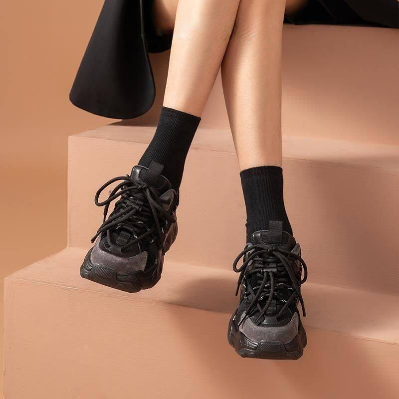 29393BeauTodar2020秋冬新款黑色老爹鞋女松糕厚底运动鞋增高女鞋ins潮