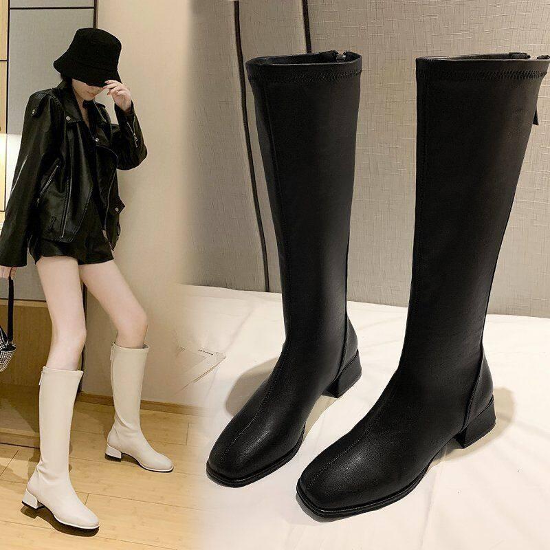 9985长筒靴女2020年冬季新款中筒马丁靴不过膝长靴骑士靴瘦瘦靴加绒冬