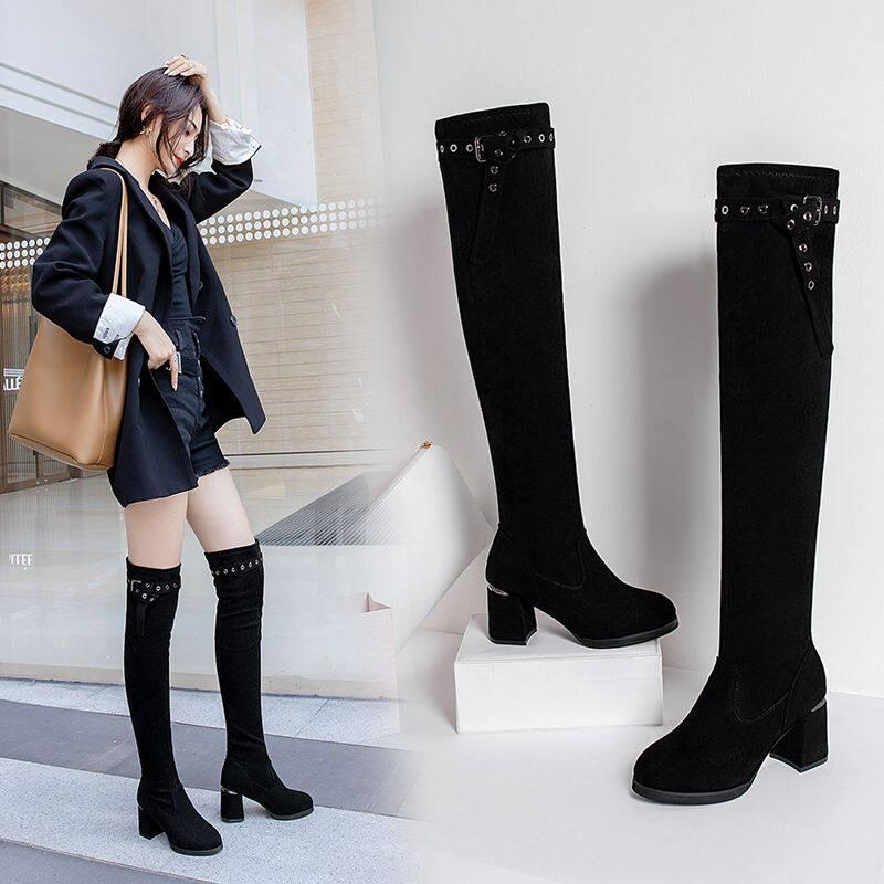 长筒靴过膝长靴女2020秋冬新款弹力瘦瘦靴百搭粗跟高跟过膝靴