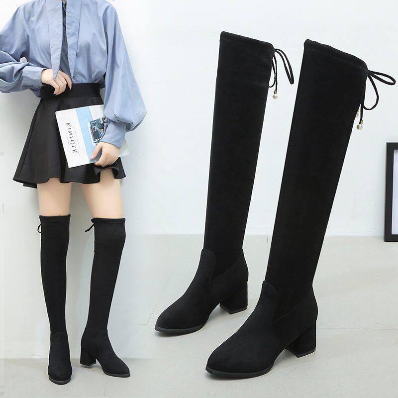 长靴女过膝靴2020秋冬新款高筒弹力靴中跟粗跟靴子显瘦过膝长筒靴